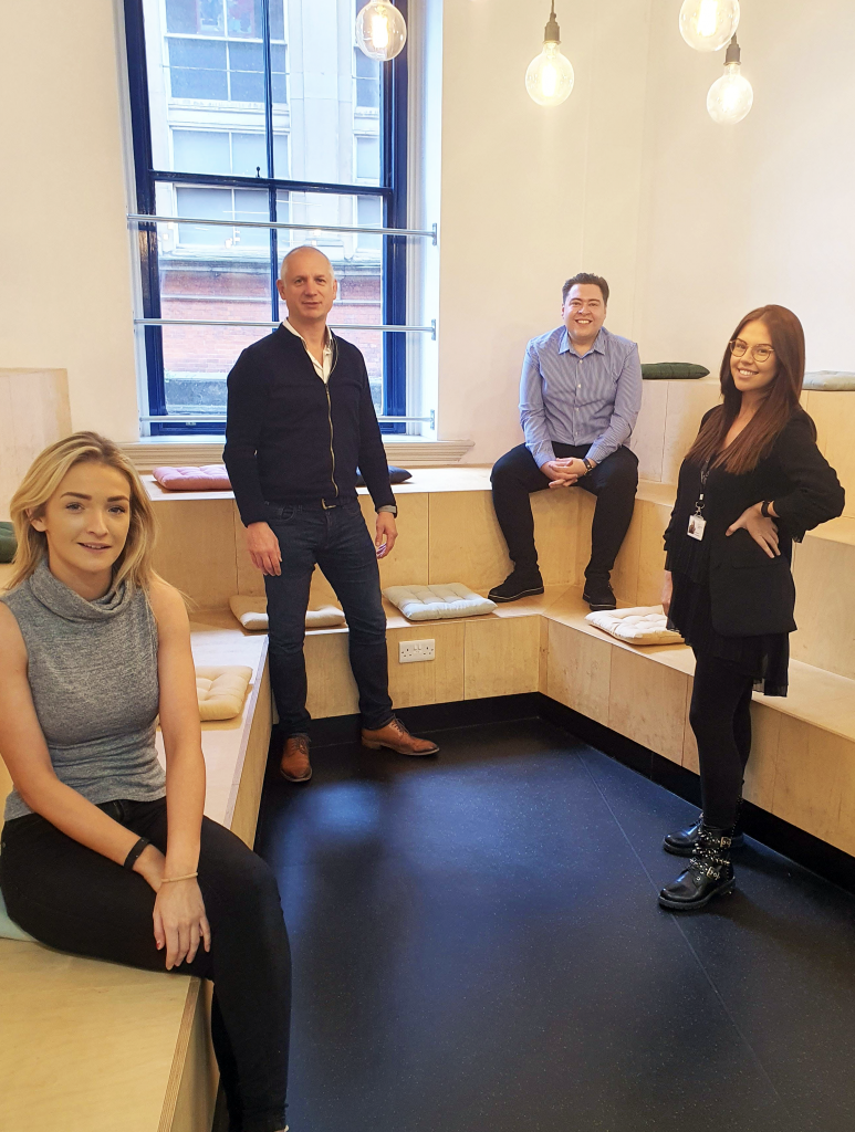 incspaces team at new Manchester property in October 2020. From left to right: Sofie Nuttall - Facilities Manager, Charlie Cudworth - Managing Director, Ed Coulson - Business Development Manager, Georgia Berry - Business Manager