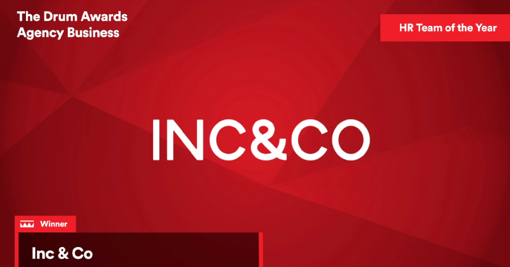 Announcement graphic for Inc & Co's now award-winning People Team, being recognised as HR Team of the Year